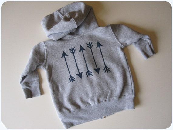 Infant Boy Or Girl Hoodie, Indian Arrows, Navy Blue On Heather Grey, Native Embellished Sweatshirt, 6 12 18 Month