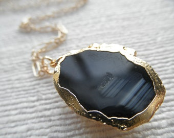 Geode - Geode necklace - black/gray geode necklace - gold necklace - D R U Z Y 063