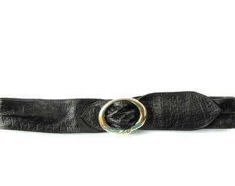 Women's Leather Belt - HIGH WAIST Leather Belt  - in Dark BROWN (Crocodile Patterned) - Size Extra Large