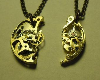 Steampunk freindship matching watch mechanism necklaces + FREE BONUS: laser-cut Coppersmith Design necklace