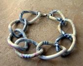 Chunky Chain Bracelet - Colorful Plaid Print Chain Links - Tartan