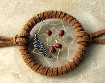 Dream Catcher Bracelet - Tribal Native American Jewelry, Brown Suede Bracelet - Angelic Dreams