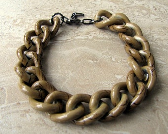 Chunky Chain Bracelet - Earthy Brown and Taupe Big Chain Bracelet (Ready to Ship)
