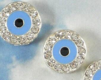 2 Baby Blue Eye Beads Crystal Rhinestone, Enamel & Silver Round 15mm Evil Eye BLING (P1040)