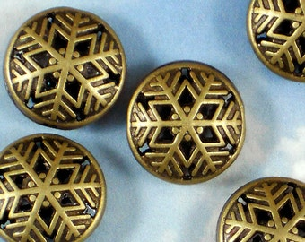 4 Bronze SNOWFLAKE Beads Filigree Hollow - Winter Fun (P615)