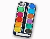 iPhone 4S Paint Set iPhone 4 Case Watercolor Paint Set | Hard Case For iPhone 4 and iPhone 4S Water Color Paint Box Version 1  Rubber Trim