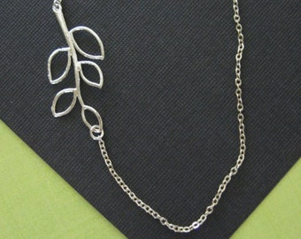 Sideways Branch Necklace, Sterling Silver Branch Necklace, Twig Jewelry, Leaf Jewelry, Natural Jewely, Sideways Necklace
