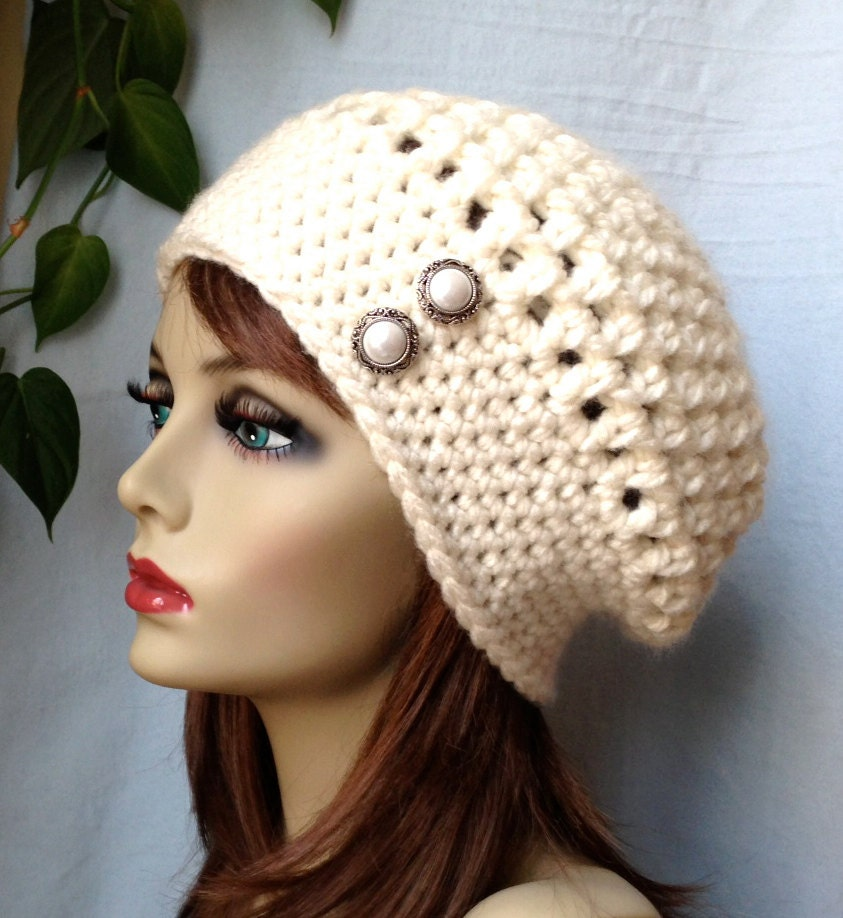 crochet slouchy beret womens hat white your