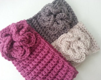 Crochet Ribbed Flower Headband/Ear Warmer - You choose the color