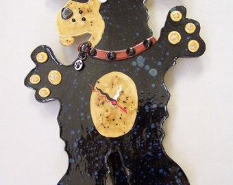 FLEA - Black & Tan Dog Clock - Custom Pieces Available Upon Request