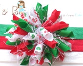 Christmas Blossoms Red Green White Boutique Baby Girl Korker Hair Bow Shimmery Elastic Headband