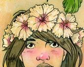 Hula Kid with Hummingbird Matted Print
