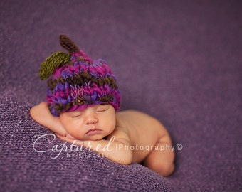 PLUM Beanie Newborn Girl Photo Prop Hat Summer Baby Boy Purple Fruit Costume Hand Knit Going Home Cap Coming Outfit Shower Gift READY Ship