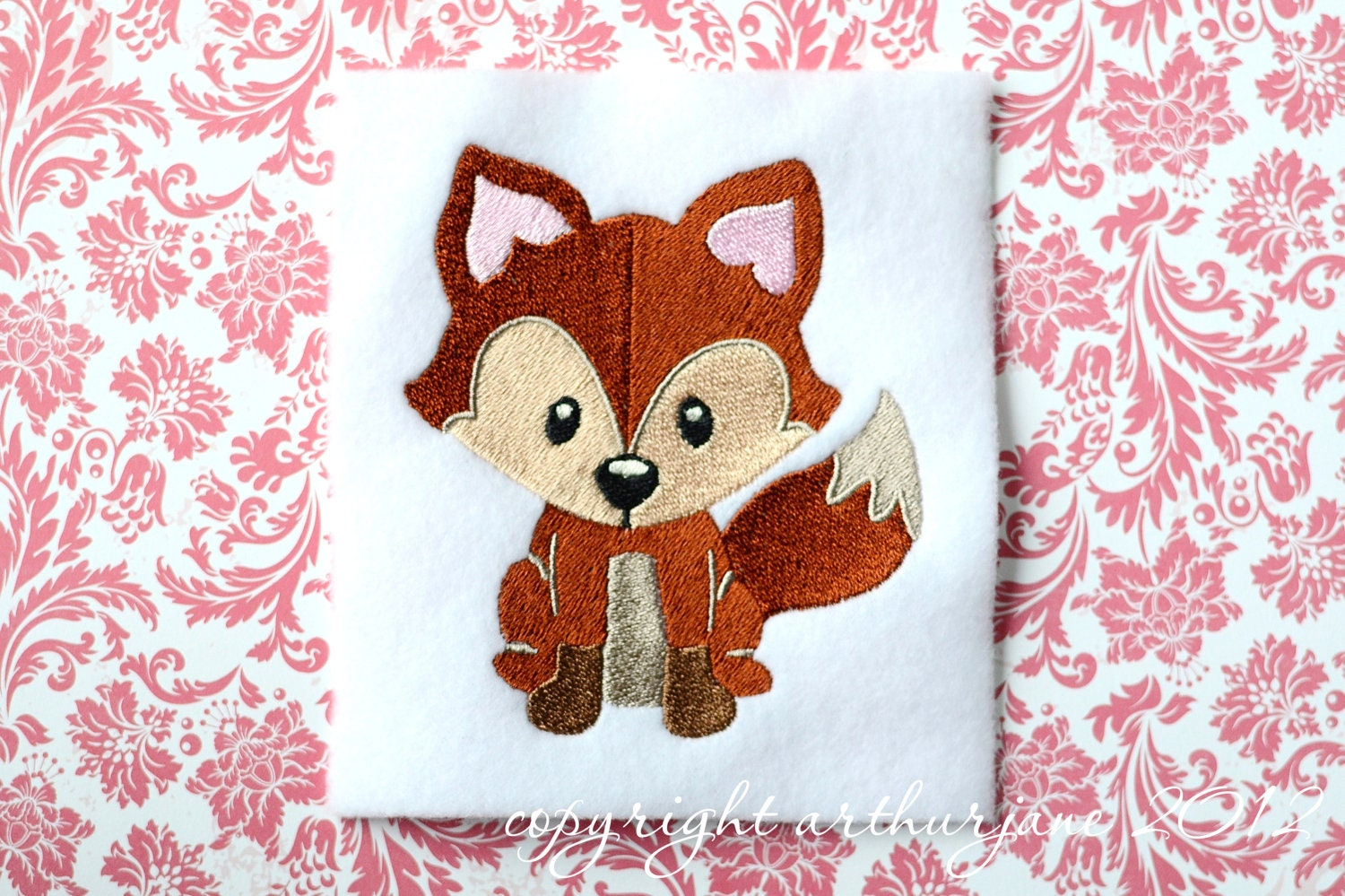 Fox embroidery design instant digital download woodland