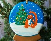 Christmas Ornament - Fat Cat in the Snow Globe