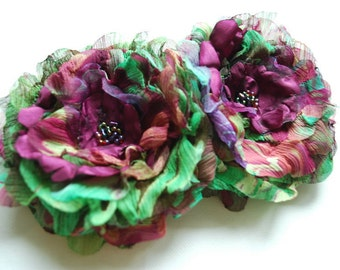 Purple Plum Violet Green Bridal Hair Flower Brooch Corsage, Purple Green Weddings Hair Accessory, Bridesmaids Hair Clip, Purple Green Sash,