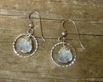 PEACEFUL SKY sterling & sterling plated dangle earrings