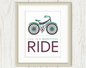 Bicycle Art - Bicycle Print - Retro Bicycle: Life Is A Beautiful Ride - Tan, Taupe, Beige, Khaki, Purple, Aqua Blue, 8 x 10 Poster - sweetharvey