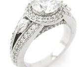2.20ctw round cut antique style diamond engagement ring R188
