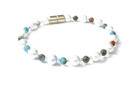 White Pearl Magnetic Hematite Bracelet with Agate & Sterling Silver Beads, Magnetic Health Jewelry, Hematite Health Bracelet