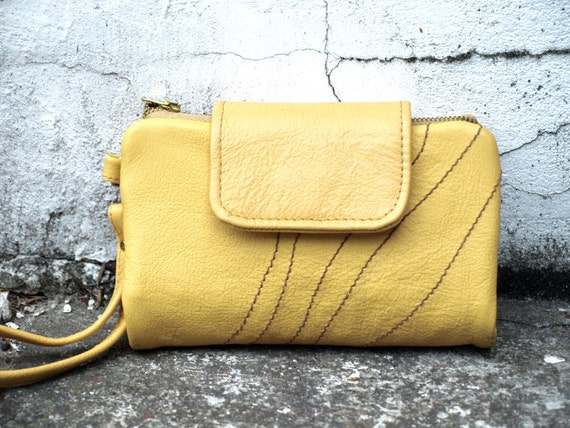 iPhone Clutch Wallet - Yellow Leather / Holiday Christmas Gift For Her Woman Girlfriend