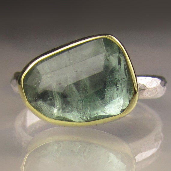 Rose Cut Blue Green Tourmaline Ring 18k Gold And Sterling