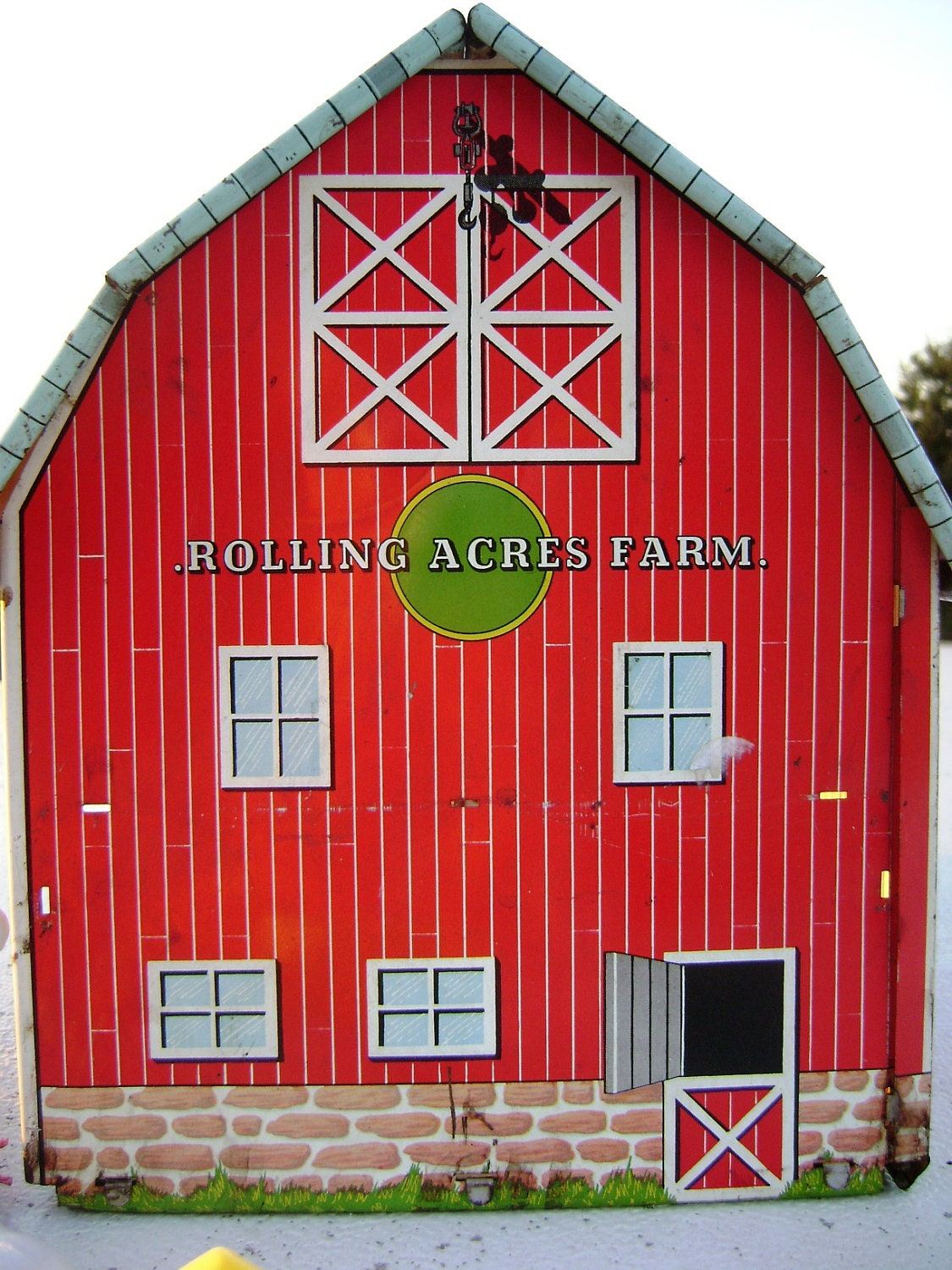 Vintage Toy Red Metal Barn Rolling Acres Farm Child S