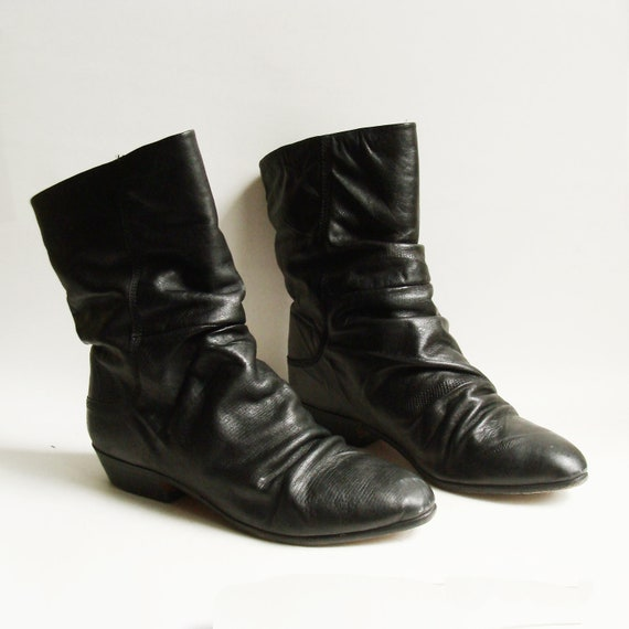 boots 9 / black leather boots / 1980s 80s by OldBaltimoreVintage