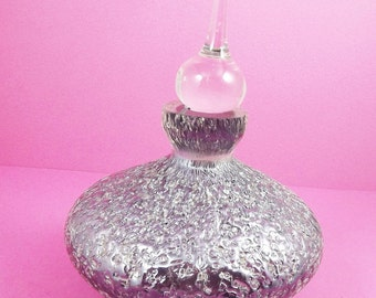 Vintage Perfume Bottle Purple Art Glass Perfume Stopper Retro 1960 Collectible