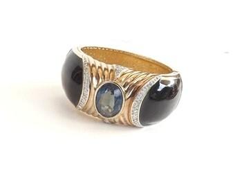 Vintage Bracelet Designer Signed Panetta Black Blue Sapphire Rhinestone Hinged Bangle Fine Jewelry Art Deco
