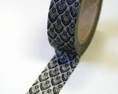 Washi Tape - 15mm - Black and White Feather Pattern - Deco Paper Tape No. 524