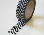 Washi Tape - 15mm - Black and Charcoal Chevron Pattern - Deco Paper Tape No. 142