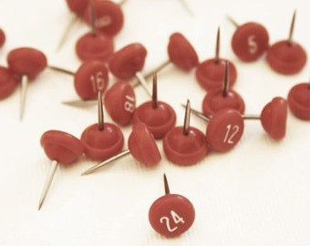 Numbered Craft Push Pins - 1 through 25 - White Print on Red