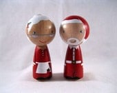 The Clauses Wood Peg Kokeshi Holiday Dolls or Ornaments