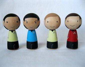 Star Trek Kokeshi Wood Peg Dolls or Holiday Ornaments