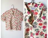 50s Botanical Garden Button Down Collared Shirt Womens Medium
