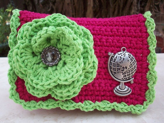 Crocheted Purse  ~  Strawberry and Green Apple with Globe Crocheted Cotton Little Bit Purse