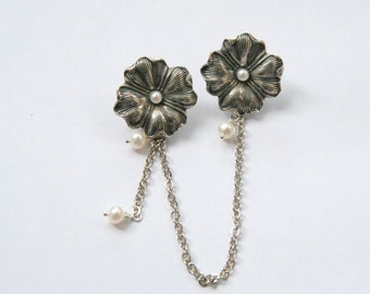 Chatelaine Silverware Clover Brooch - freshwater pearl dangling shamrock brooch