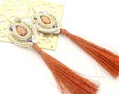 Tangerine tango  & gold chandelier earrings , tassle earrings ,      free shipping  Valentine day