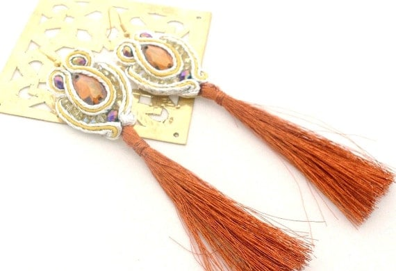 Tangerine tango  & gold chandelier earrings , tassle earrings ,      free shipping  Valentine day