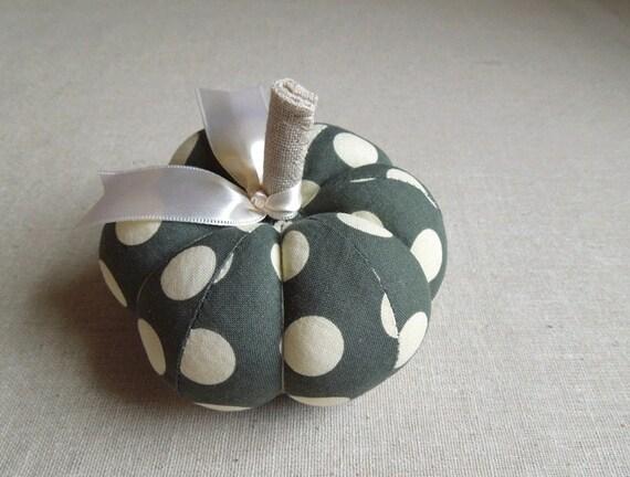 Polka Dot Pumpkin Pincushion in Dark Forest Green Fall Decor