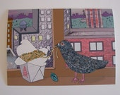 Holiday Greeting Card - Happy Hanukkah - Pigeon Eating Chinese Takeout in Brooklyn - Collage Art