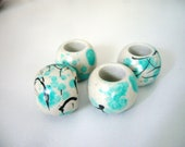 teal and grey large hole beads