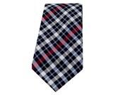 Silk Necktie - Navy Red Plaid Necktie - Thenford - Newborn through Adult Tie Sizes