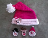 6 Sizes - Santa Claus Hat Crochet Pattern and 4 appliques ( Santa Snowman Teddy Bear  Rudolph )  Number 44 Instant Download