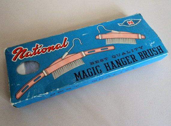 Vintage 1950's Travel Hanger // MAGIC HANGER BRUSH // Clothes Brush