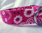 Pink Dog Collar for Girl Bandanna Ribbons