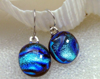 Dichroic Fused Glass Sterling Silver Drop Earrings, Sparkling Carribean Blue Teal, Sterling Silver, Niobium, Surgical Steel, Hypoallergenic