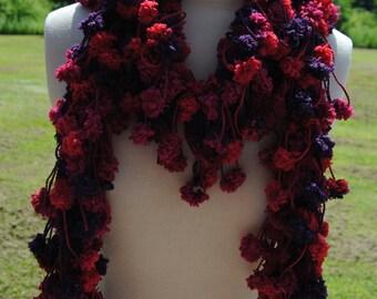 Pink and Purple Pom Pom Loop Scarf, Long Crochet Scarf, Soft Crochet Scarf