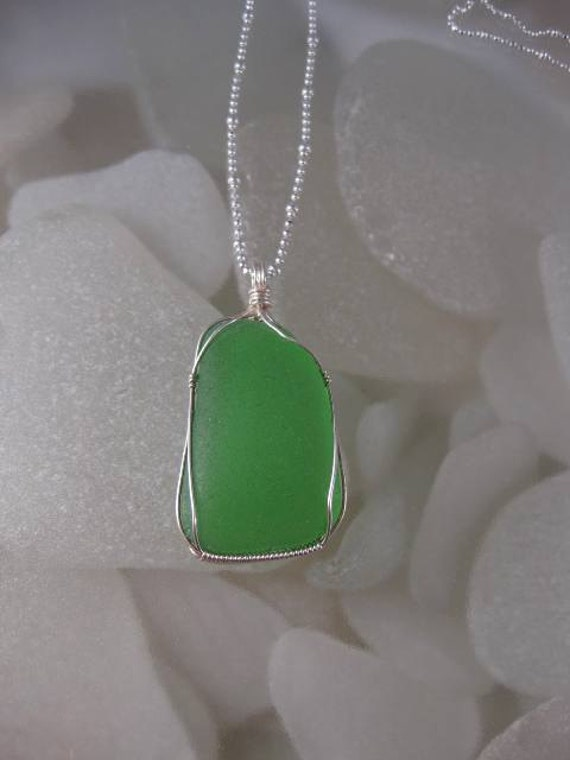 Emerald Green Sea Glass Necklace - Sterling Silver - free shipping